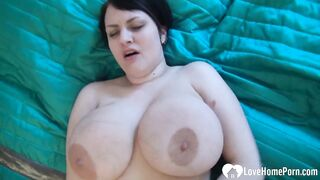 Amateur honey with biggest titties uses a sex tool