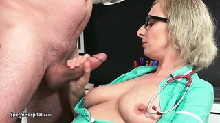 Large titted, older nurse is giving a gentle tugjob to a patient and awaiting a jizz flow
